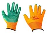 Перчатки нейлон нитрил облив (оранж-зелен) (720/12)