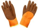Перчатки акрил утеплен. оранж-корич вспенен.латекс 3/4 (10/480)