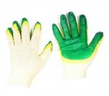 Перчатки х/б двойной облив зеленые (Россия) (10/100)