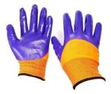 Перчатки нейлон полный(3/4) нитрил облив оранж-фиолет. (12/960)