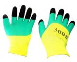 Перчатки нейлон,вспененный латекс,пальчики (зел-черн) (12/960)